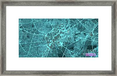 Brussels Traffic Abstract Blue Map And Cyan Framed Print