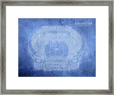 Bryant Denny Stadium Alabama Crimson Tide Football Tuscaloosa Field Blueprints Framed Print