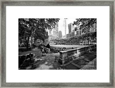 Framed Print featuring the photograph Bryant Park Angles by John Rizzuto