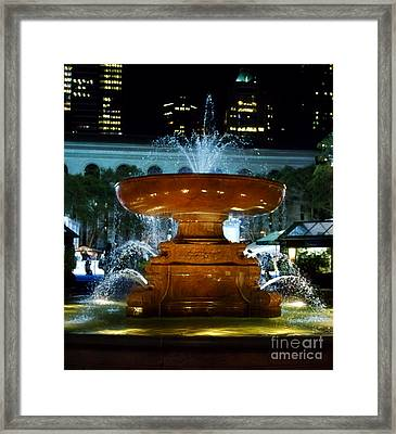Bryant Park Fountain Framed Print by Terry Weaver