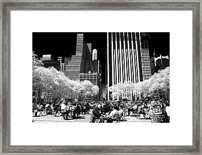 Bryant Park Lunch Framed Print by John Rizzuto