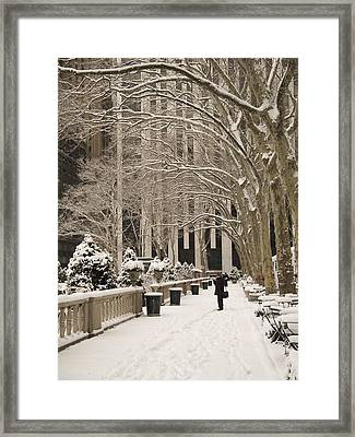 Bryant Park Snow Framed Print by Andrew Kazmierski