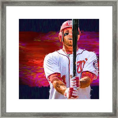 Bryce Harper Mlb Washington Nationals Baseball Painted Digitally Framed Print