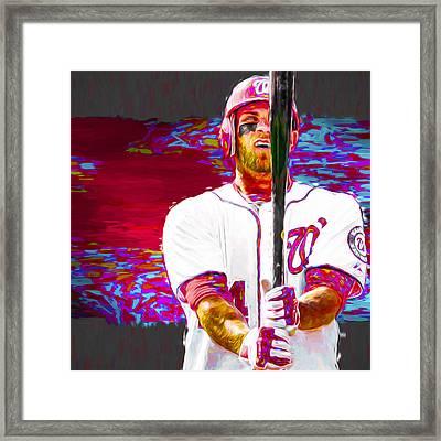 Bryce Harper Washington Nationals Mlb Baseball Painting Digital Framed Print