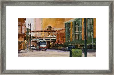 Bryn Mawr Edgewater El Stop Framed Print by Nancy Albrecht