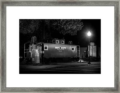Bryson City  Caboose In Black And White Framed Print