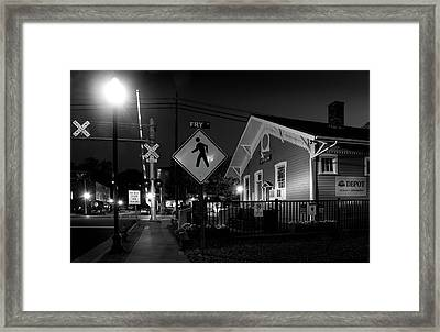 Bryson City Depot At Night In Black And White Framed Print