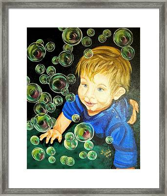 Bubble Baby Framed Print by Kathern Welsh