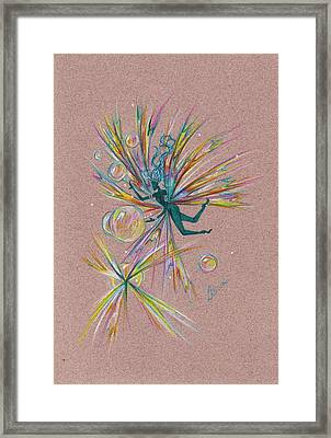Framed Print featuring the drawing Bubble Bursting by Dawn Fairies