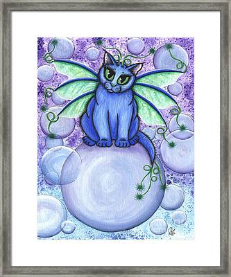 Framed Print featuring the painting Bubble Fairy Cat by Carrie Hawks