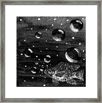 Framed Print featuring the painting Bubble Fish Underwater by Janelle Dey