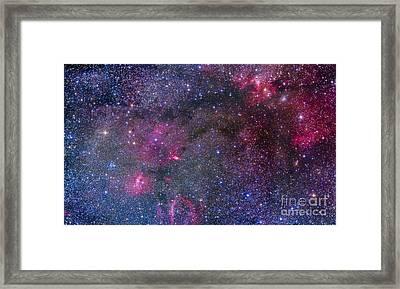 Bubble Nebula And Cave Nebula Mosaic Framed Print by Alan Dyer