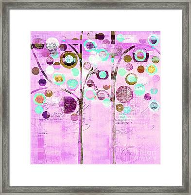 Bubble Tree Duo - 44mauv Framed Print by Variance Collections