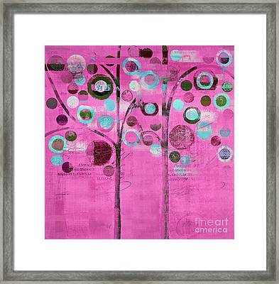 Bubble Tree Duo - 44pnk Framed Print by Variance Collections