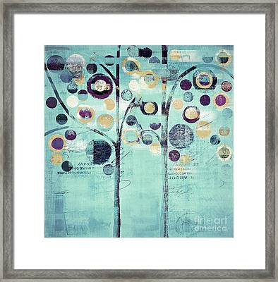 Bubble Tree Duo - 44turq01 Framed Print by Variance Collections