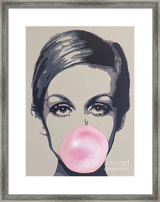 Bubblegum Beauty Framed Print by Sara Sutton