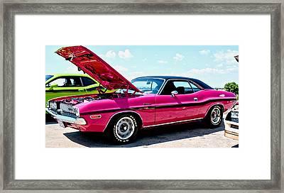 Bubblegum Pink Classic Dodge Challenger Framed Print