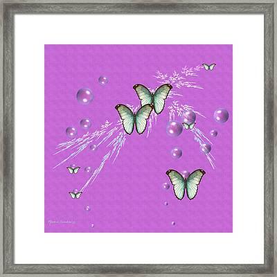 Bubbles And Butterflies Framed Print by Rosalie Scanlon
