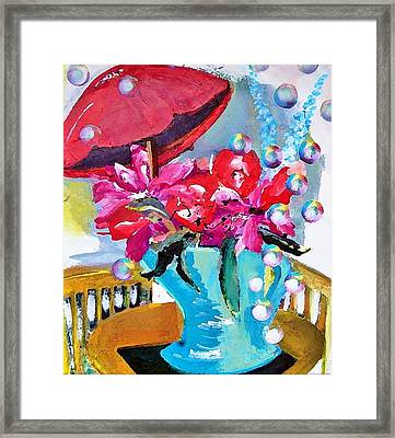 Bubbles And Flowers Framed Print by Lisa Kaiser