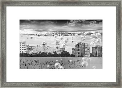 Bubbles And The City Framed Print