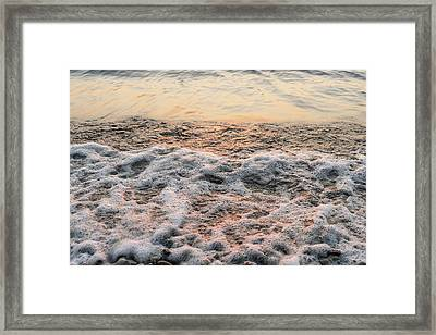 Bubbles In Motion - Playing In The Surf At Sunrise Framed Print