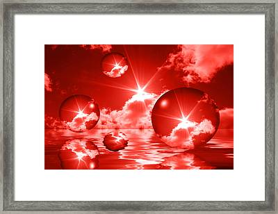 Framed Print featuring the photograph Bubbles In The Sun - Red by Shane Bechler