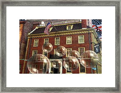 Bubbles Of New York History - Photo Collage Framed Print