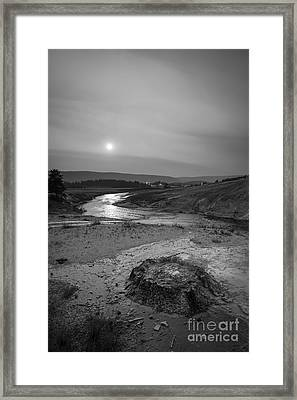 Bubbling Hot Spring In Yellowstone National Park Bw Framed Print