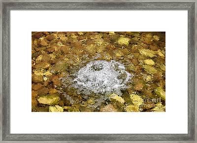 Bubbling Water In Rock Fountain Framed Print