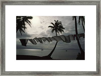 Buca Bay, Laundry And Palm Trees Framed Print by James L. Stanfield