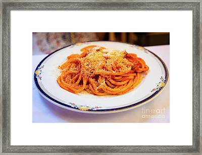 Bucatini All'amatriciana Framed Print by Inge Johnsson