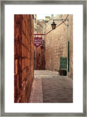 Framed Print featuring the photograph Bacchus Restaurant And Bar Malta by Tom Prendergast