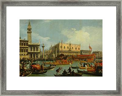 Bucentaur's Return To The Pier By The Palazzo Ducale Framed Print by Canaletto