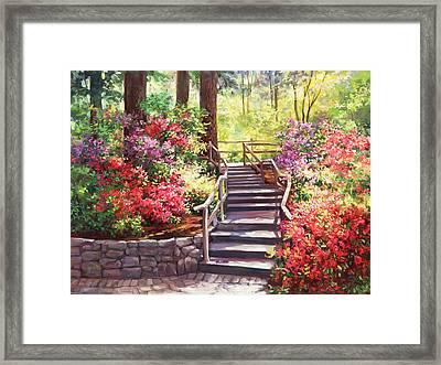 Buchart Garden Stairway Framed Print by Laurie Hein