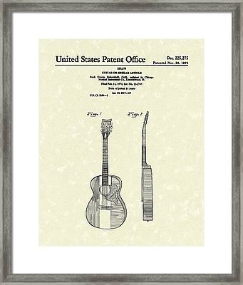 Buck Owens Guitar 1972 Patent Art  Framed Print