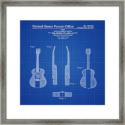 Buck Owens Guitar Patent 1972 Blue Print Framed Print by Digital Reproductions