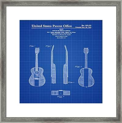 Buck Owens Guitar Patent 1972 Blue Print Framed Print