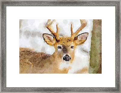 Framed Print featuring the painting Buck Profile by Steven Santamour