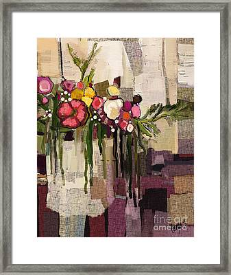 Framed Print featuring the painting Bucket Of Flowers by Carrie Joy Byrnes