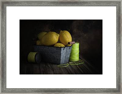 Bucket Of Lemons Framed Print