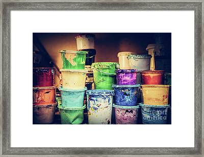 Buckets Of Liquid Paint Standing In A Workshop. Framed Print by Michal Bednarek