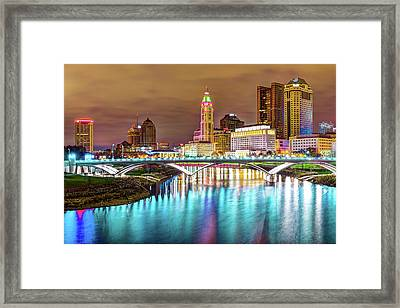 Framed Print featuring the photograph Buckeye Skyline - Columbus At Night On The Water by Gregory Ballos