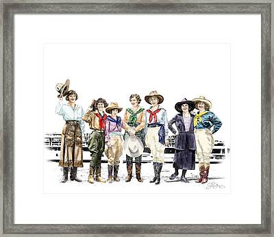 Buckin Horse Suffragettes Framed Print by Shirley Morris