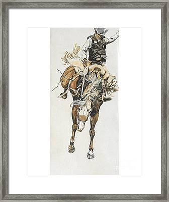 Bucking Horse Facing Center Framed Print