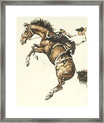 Bucking Horse Facing Left Framed Print