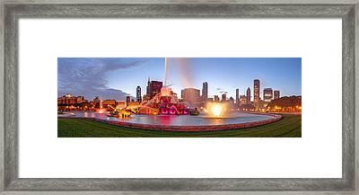 Buckingham Fountain Panorama At Twilight - Grant Park Chicago Illinois Framed Print by Silvio Ligutti