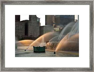 Buckingham Fountain Sidelight  Framed Print by Steve Gadomski