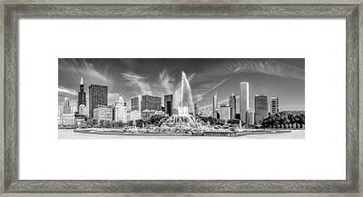 Buckingham Fountain Skyline Panorama Black And White Framed Print