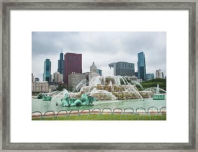 Buckingham Fountain Framed Print by Sonja Quintero