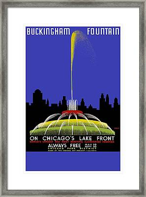 Buckingham Fountain Vintage Travel Poster Framed Print